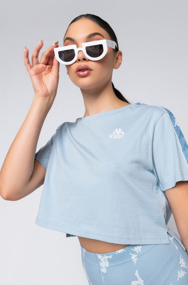 Front View Kappa Womens Baua Crop Shirt in Blue