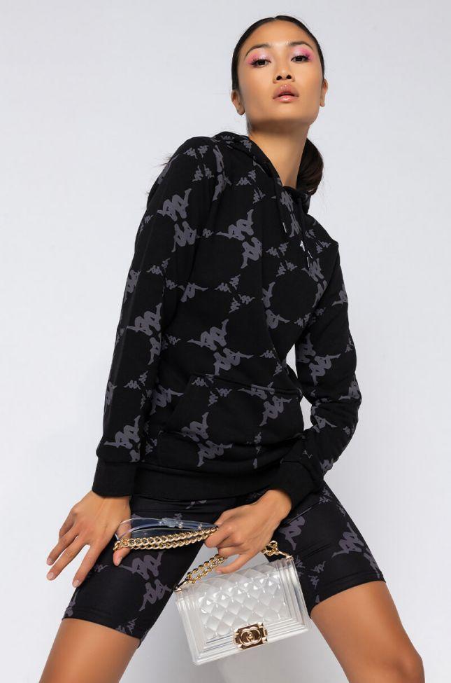 Front View Kappa Womens Datos Hoodie in Black