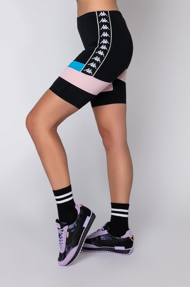 Side View Kappa Womens Football Eve Biker Short in Black Multi