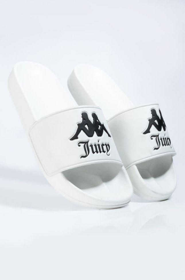 Detail View Kappa X Juicy Couture Adam Slide in White Black