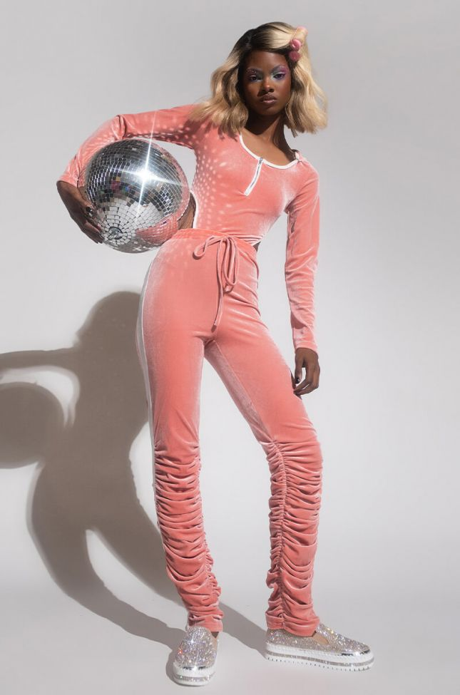 Front View Karma Stack Velvet Jumpsuit With Hoodie in Pink