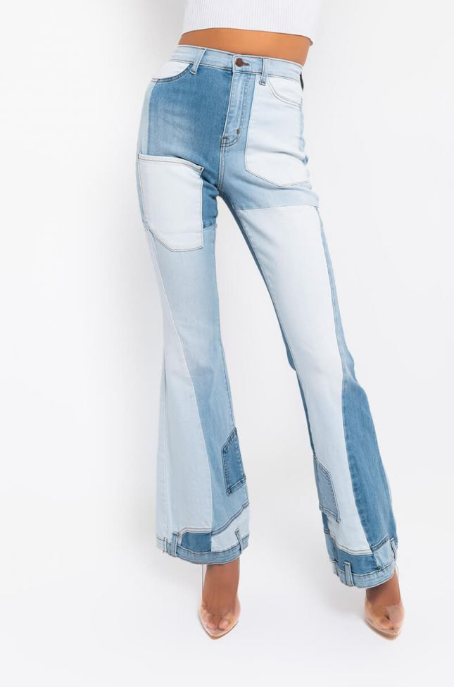 Front View Kayla Fashion High Waisted Flare Jeans in Light Blue Denim