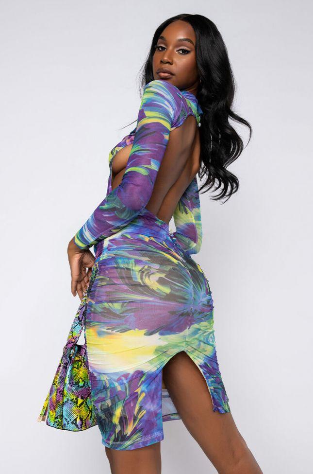 Back View Keep Callin Mock Neck Midi Dress in Purple Multi