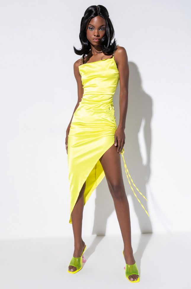 Front View Keep Em Sprung Gold Chain Straps Dress in Lime