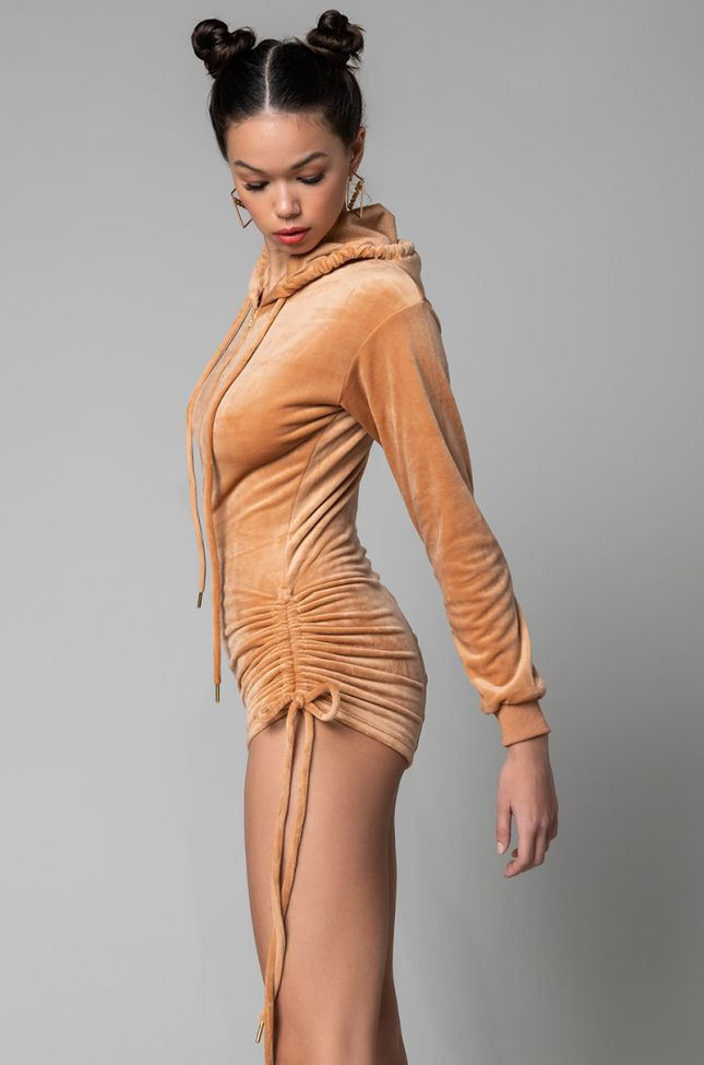 Back View Keep Glowing Romper With Ruched Shorts And Hood in Camel