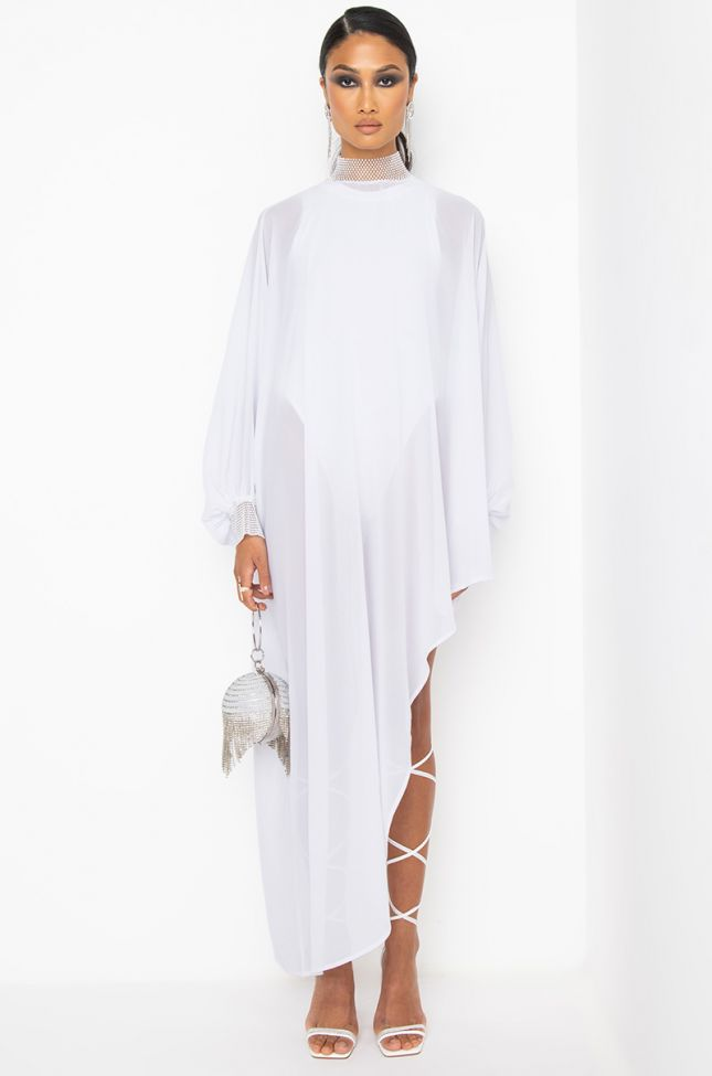 Front View Keep It Coming Halter Top Mini Dress in White