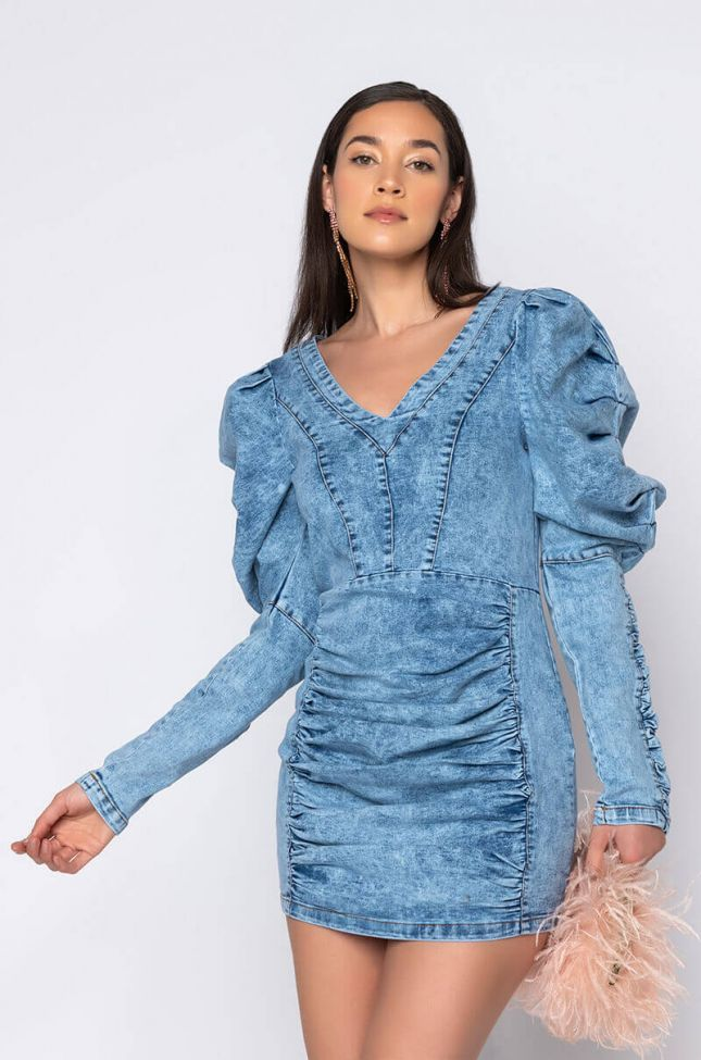 Front View Keep It Cute Puff Sleeve Denim Dress in Medium Blue Denim