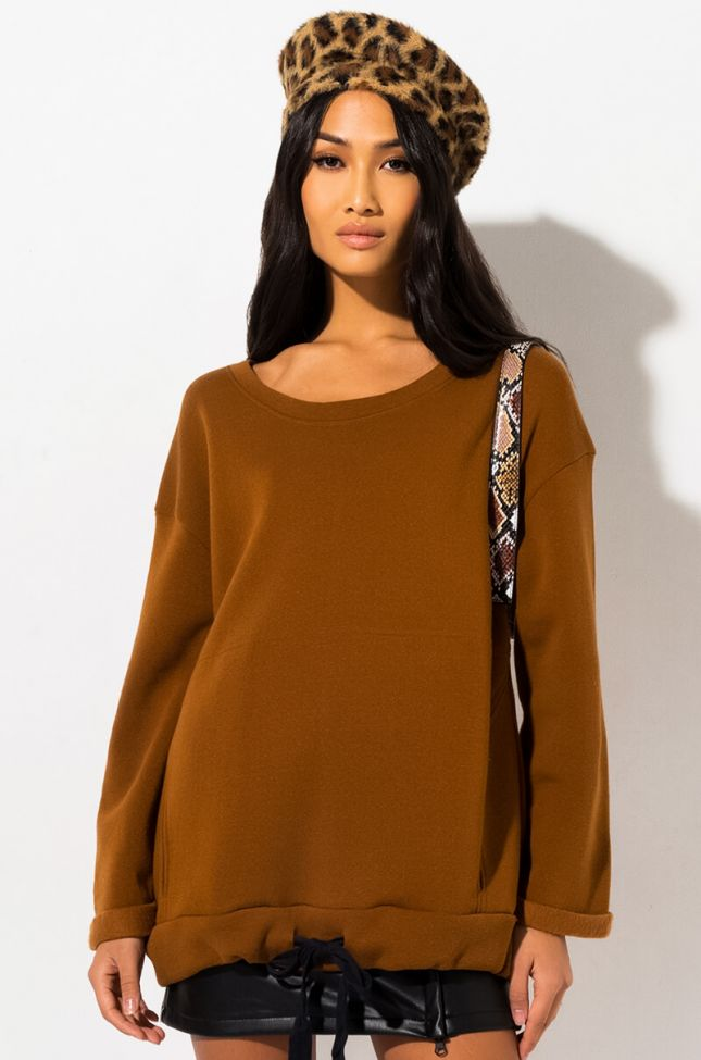 Front View Keep It Fresh Pull Over Sweatshirt in Brown