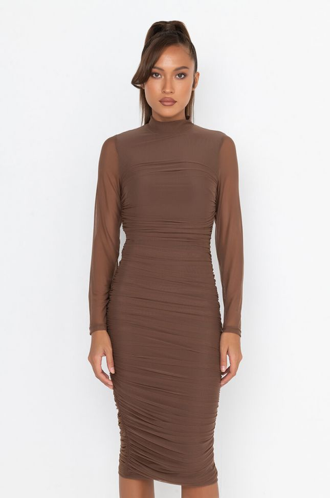 Front View Keep It Low Key Long Sleeve Midi Ruched Dress