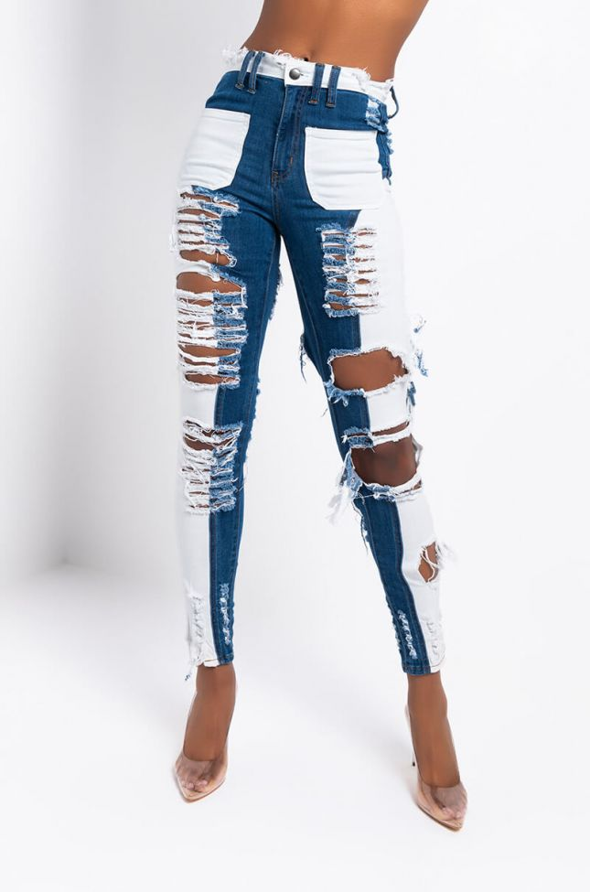 Front View Keep Me Busy High Waisted Skinny Jeans in Dark Blue Denim