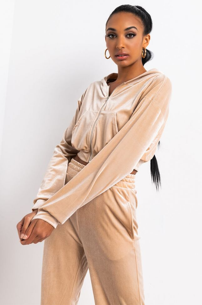 Front View Keep Up Cropped Sweater With Hoodie in Beige
