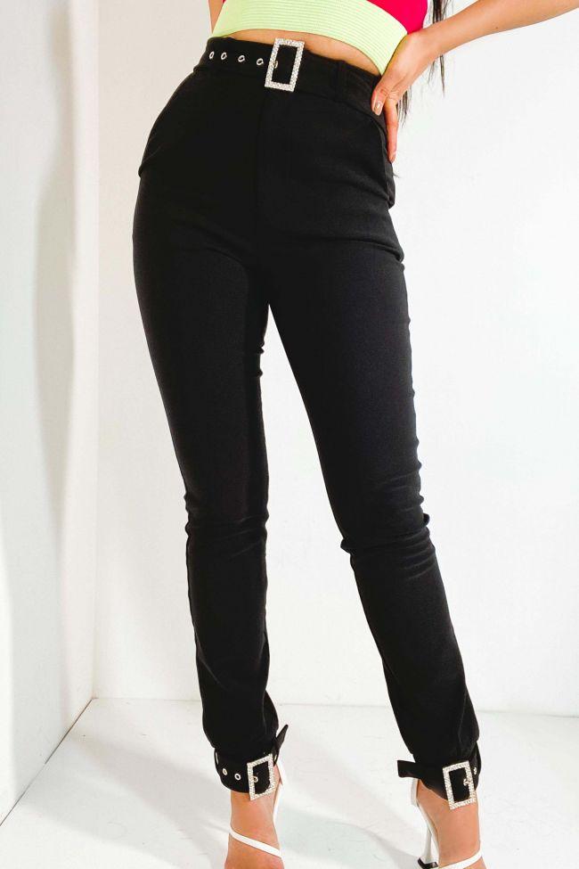 Front View Kelly Rhinestone Buckle Detail Pants in Black
