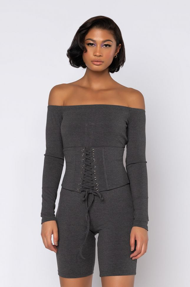 Front View Kick Rocks Off The Shoulder Long Sleeve Romper in Heather Charcoal