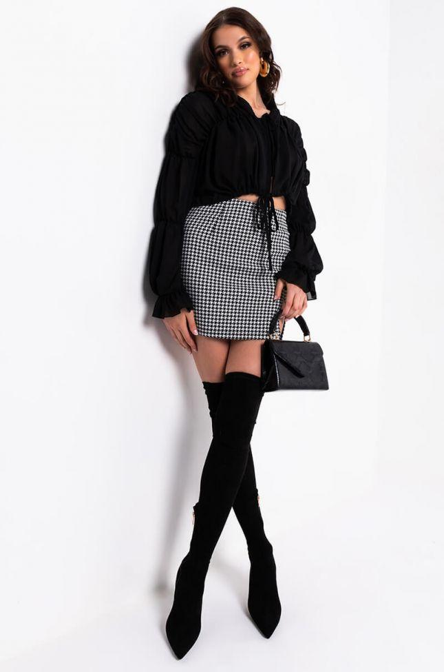 Kika Mini Skirt With A Front Slit in Black White