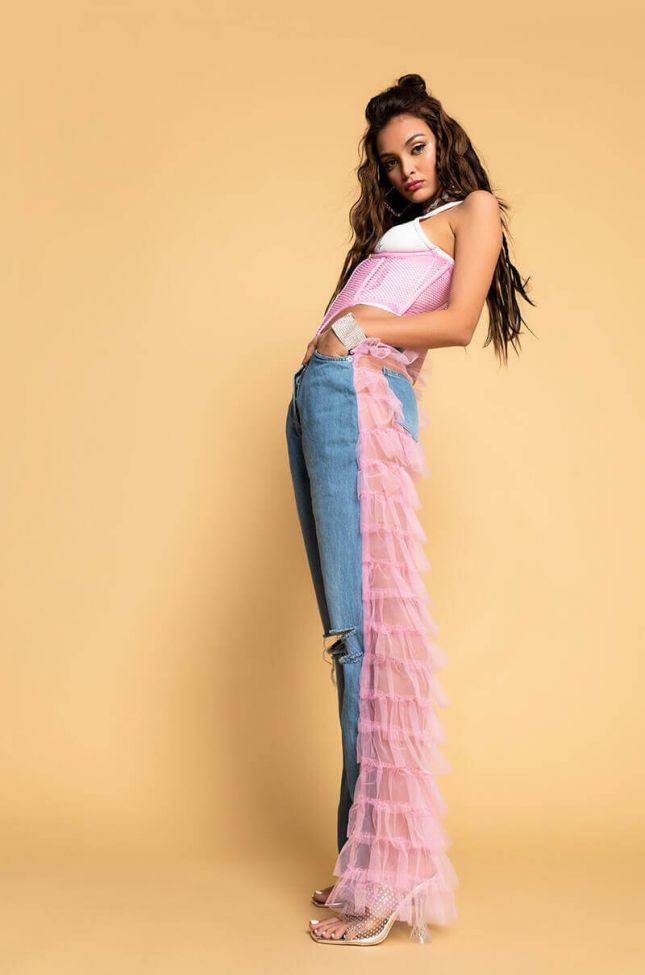 Kiki Riki Best In Show Denim Pants With Tulle in Light Pink
