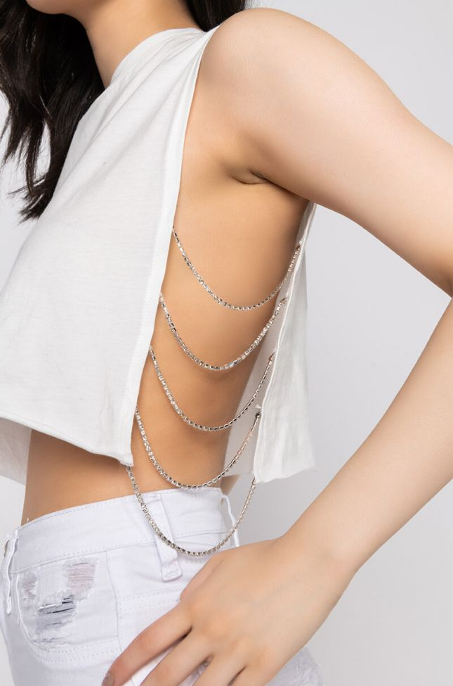 Detail View Kill Em With Kindness Crop Top With Rhinestone Trim in White