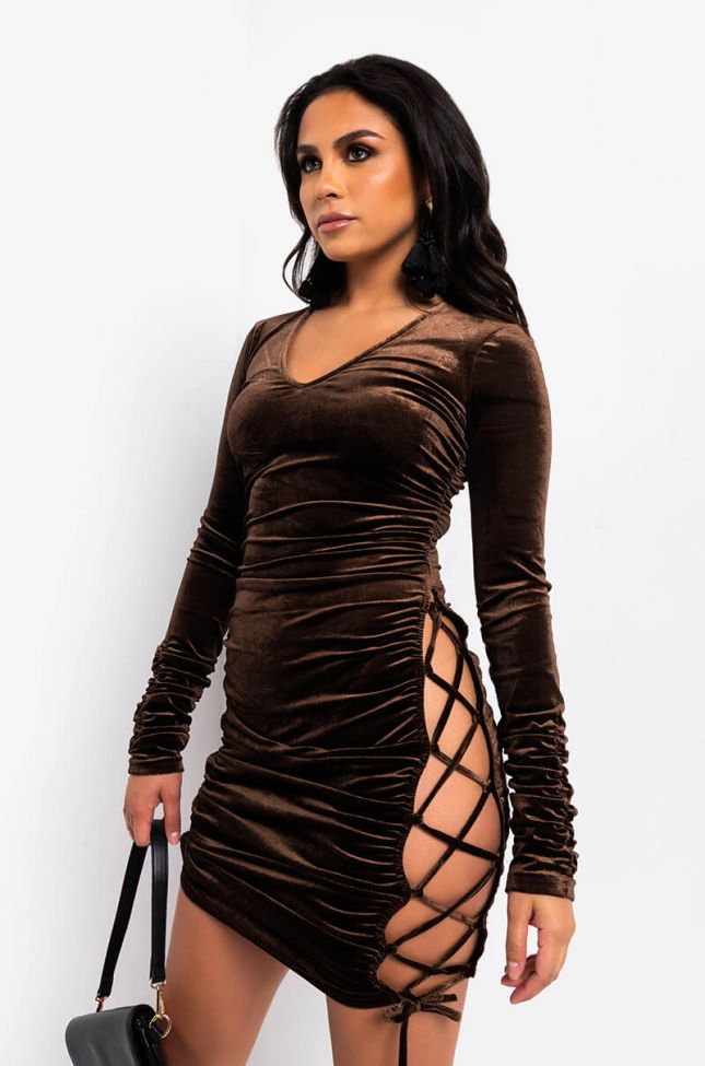 Front View Killing Me Softly Tie Up Sides Velvet Dress in Brown