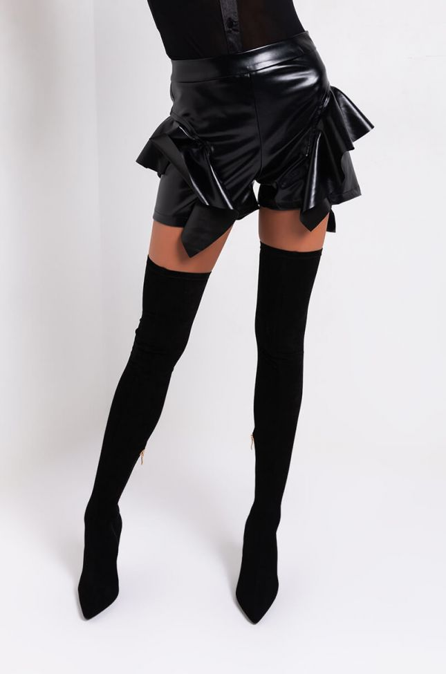 Front View Kim Ruffle Shorts in Black