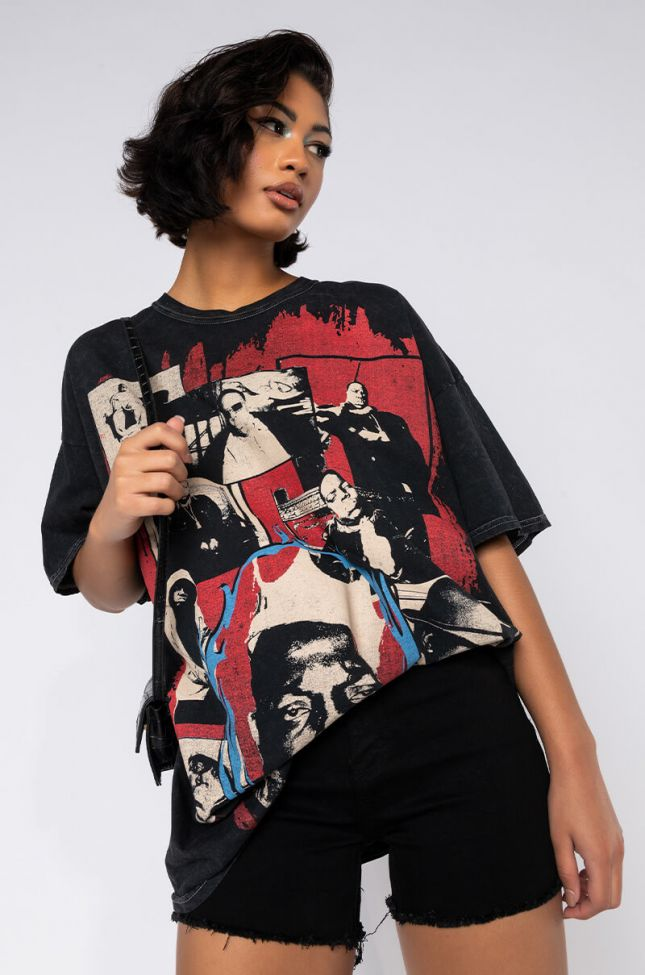 Front View King Biggie Notorious B.i.g. Graphic T Shirt in Black Multi