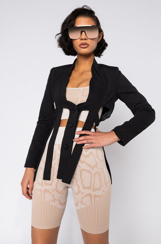 Front View Kinsley Blac Deconstructed Blazer in Black