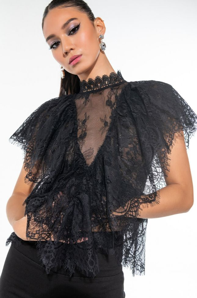 KISS ME MORE SHEER LACE BUTTERFLY SLEEVE BLOUSE
