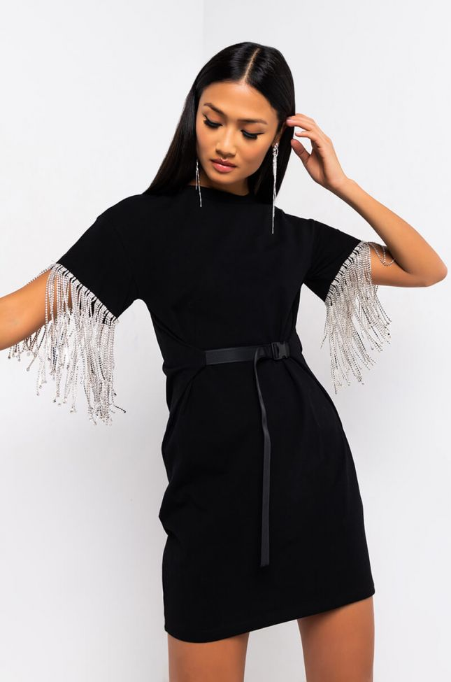 Front View Kiss The Ring Fringe T-shirt Dress in Black