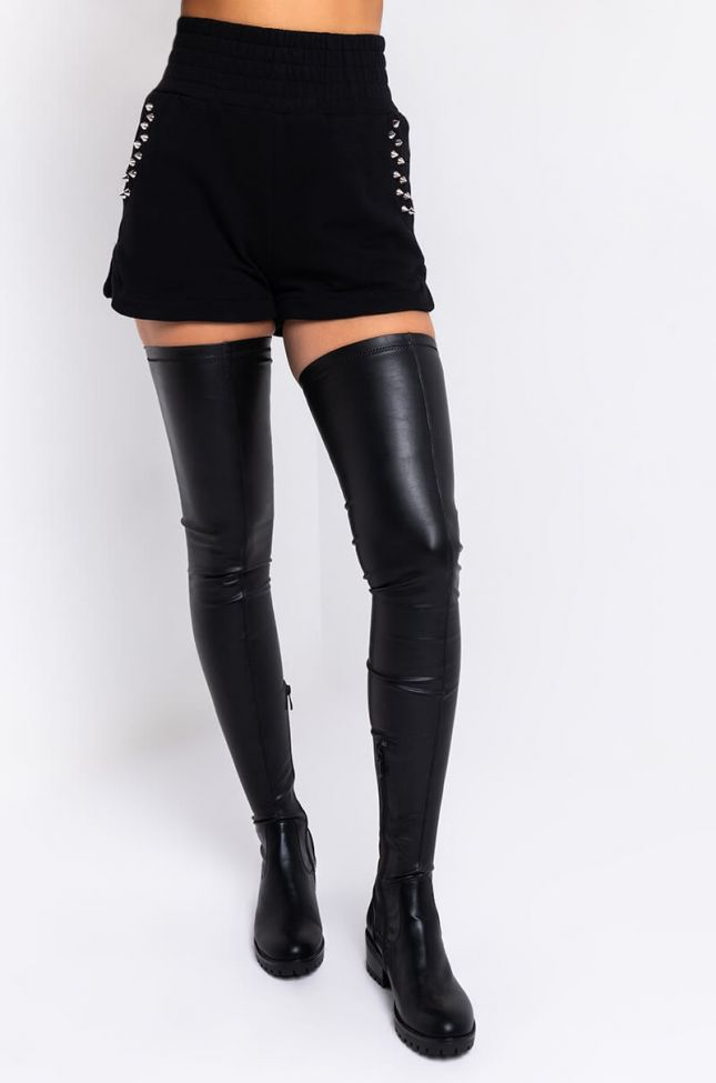 Front View Kiss The Stars High Waisted Shorts in Black