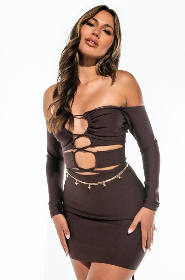 Front View Klarissa Off The Shoulder Lace Up Dress In Bandage