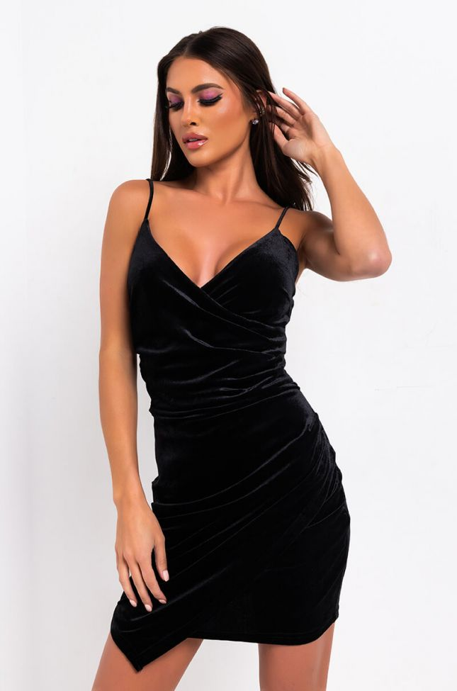 Front View Know It All Velvet Mini Dress in Black