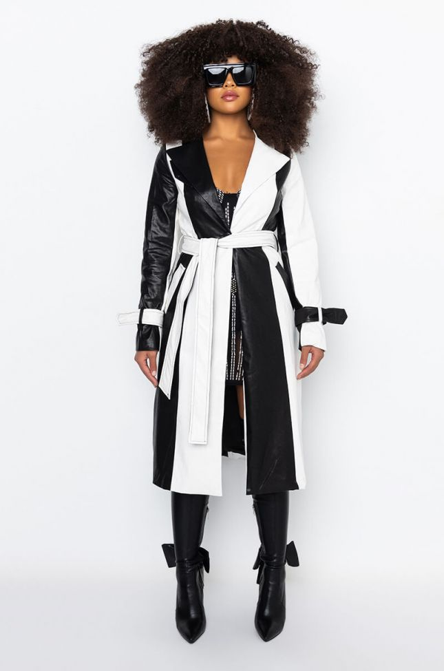 Detail View Kourtney Color Block Pleather Trench