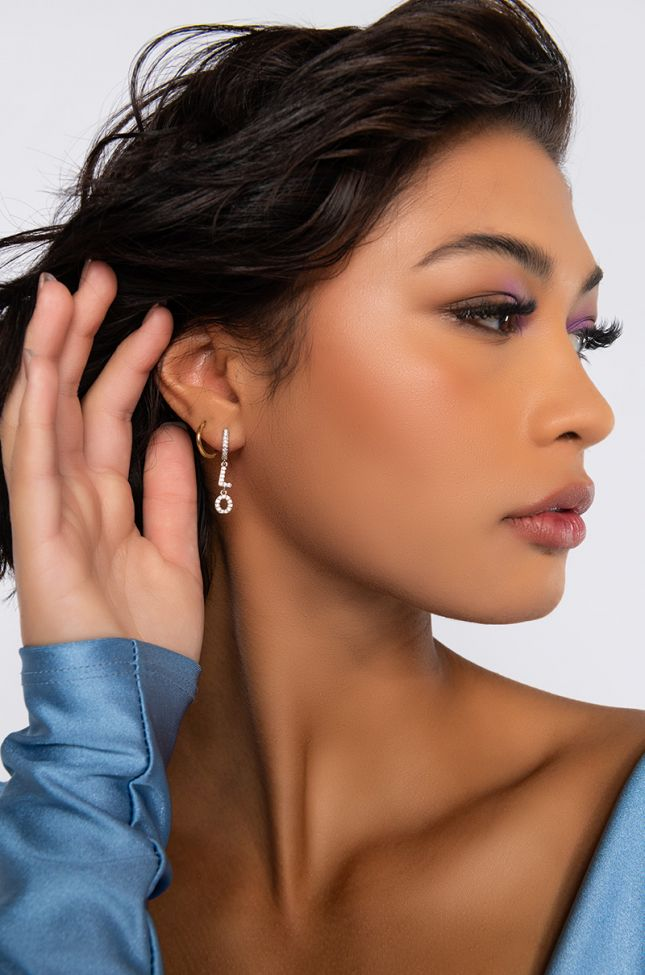 Front View L O V E Earring in Silver