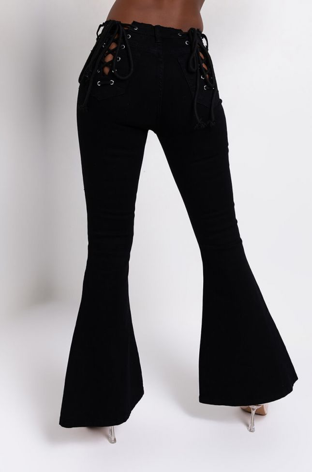 Back View Lace Me Up Flare Jeans in Black