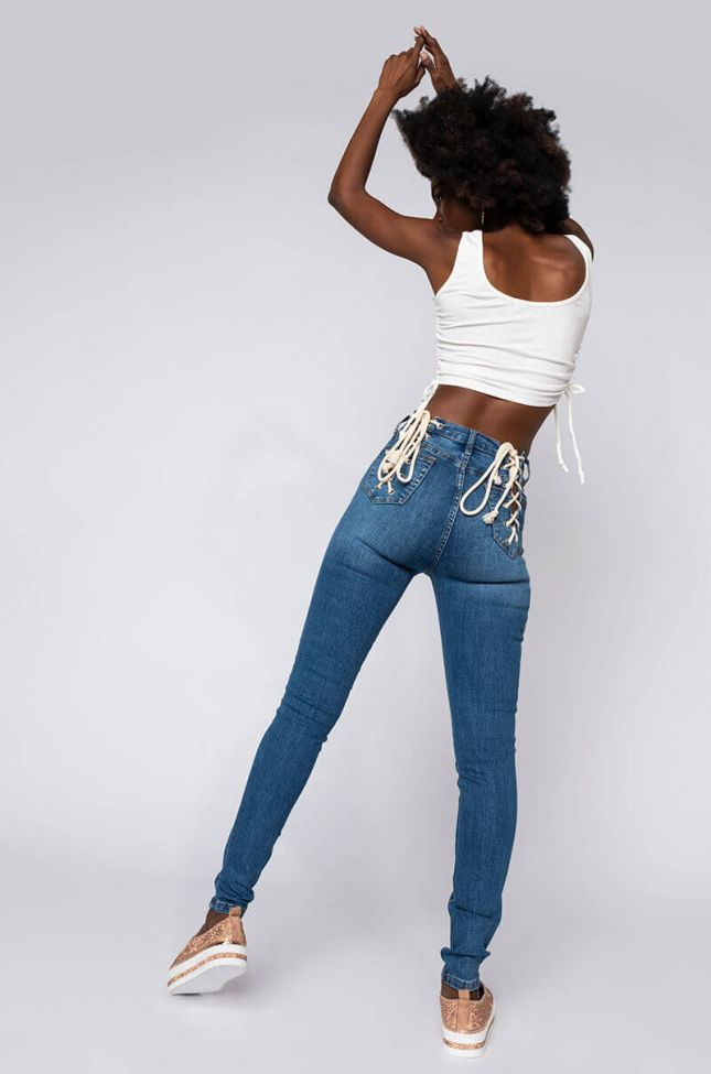 Lace Me Up Skinny Jeans in Medium Blue Denim