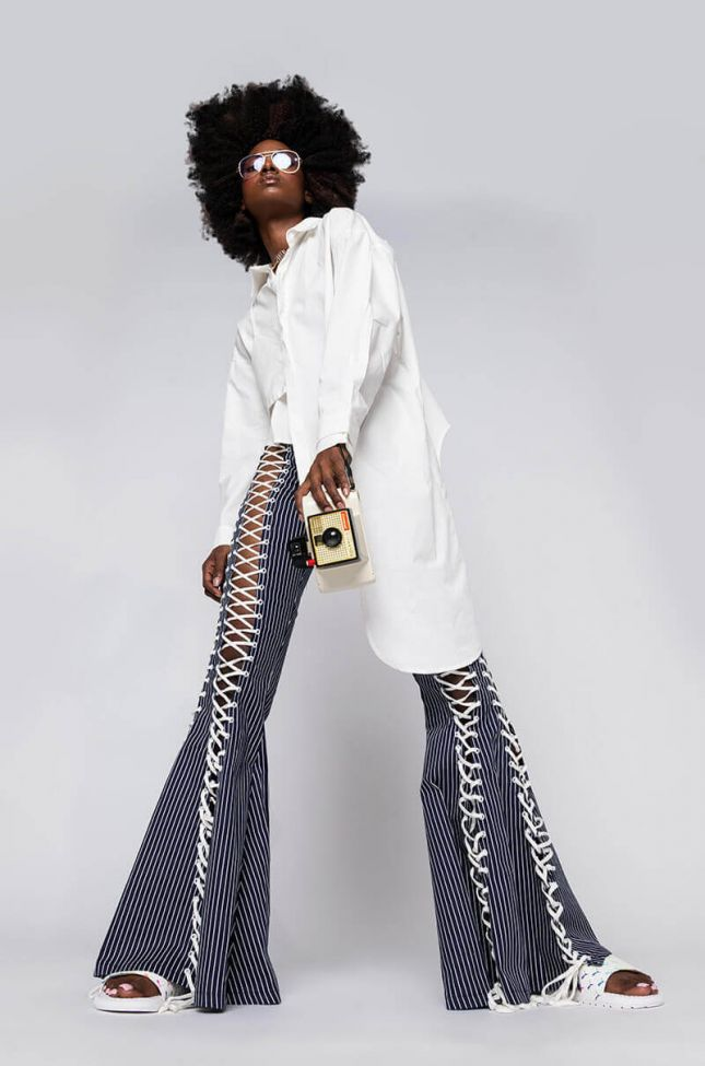 Laced Up And Ready Wide Leg Denim in Blue White Blue