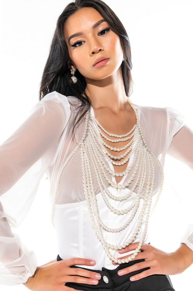 Front View Lady Of The Land Drapped Pearl Bodychain
