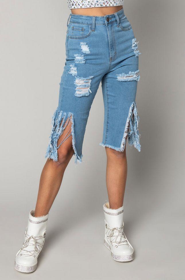 Front View Lake High Waisted Denim Shorts in Medium Blue Denim