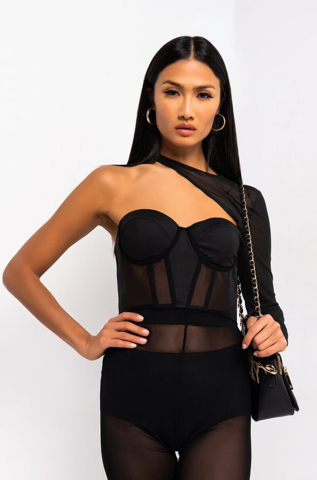 Front View Lala One Sleeve Corset Top in Black