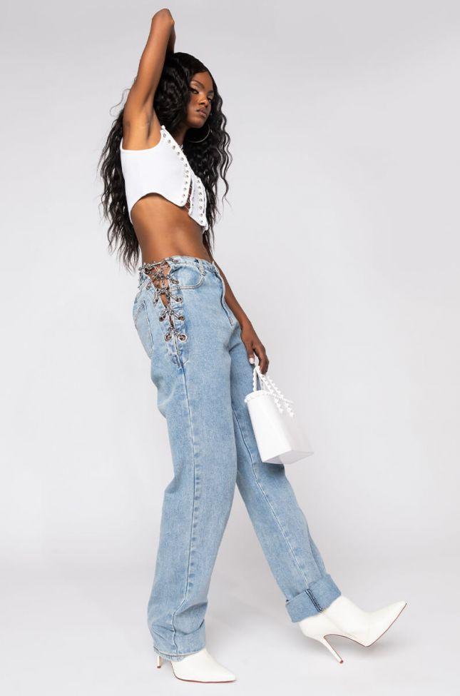 Lavinia Chain Detail High Rise Straight Jeans in Light Blue Denim