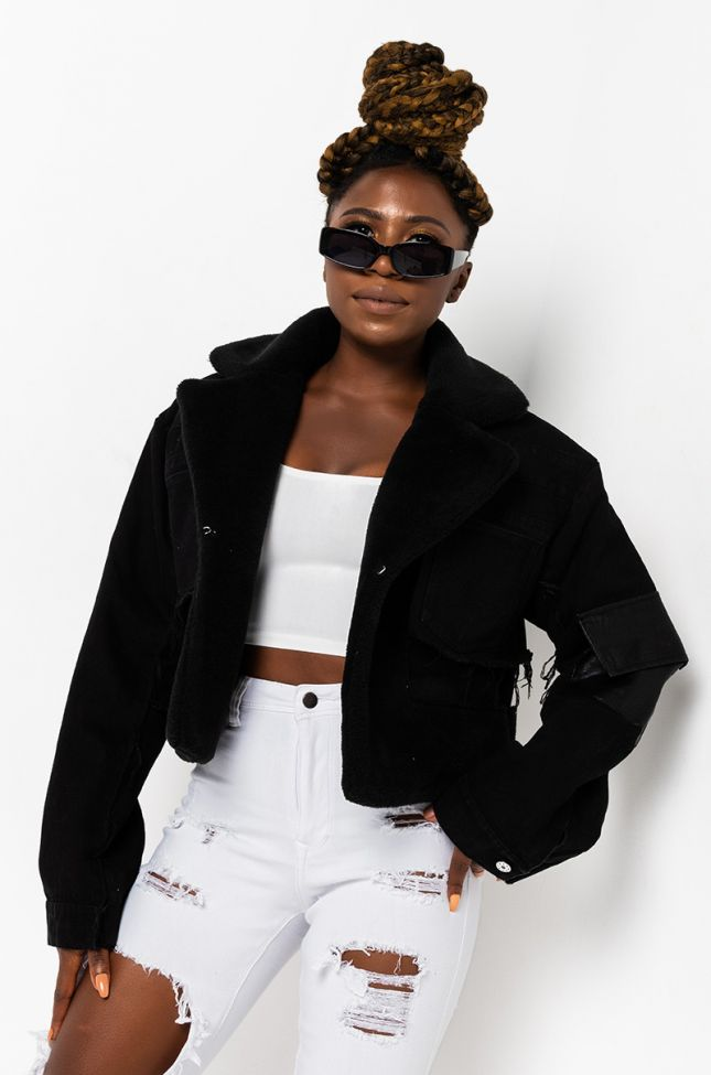 Front View Layer Up Denim Shearling Jacket in Black