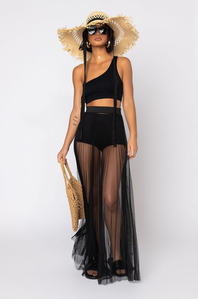 Full View Lazy Day One Shoulder Crop Top in Black