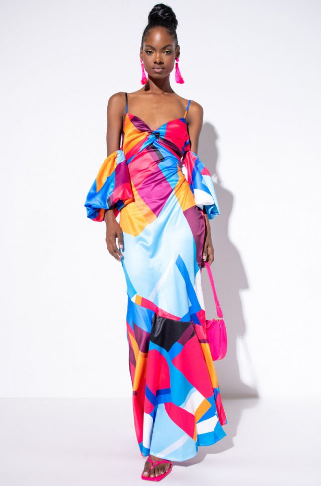 Side View Abstract Print Geo Satin Maxi Dress in Blue Multi