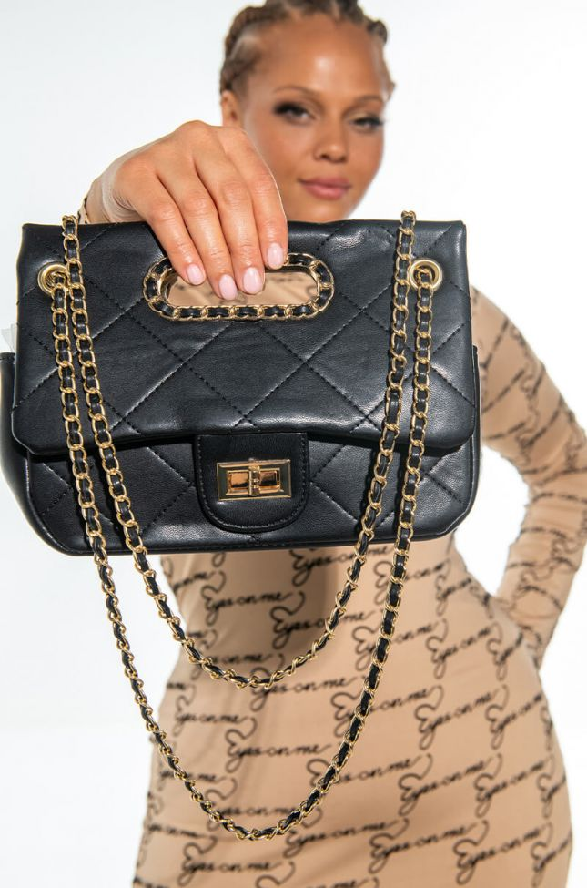 Side View Leave Before You Love Me Top Handle Quilted Purse