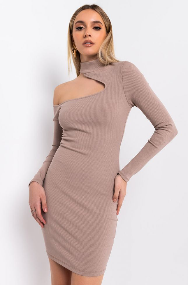 Front View Leave It To Me Cutout Mini Dress in Light Brown