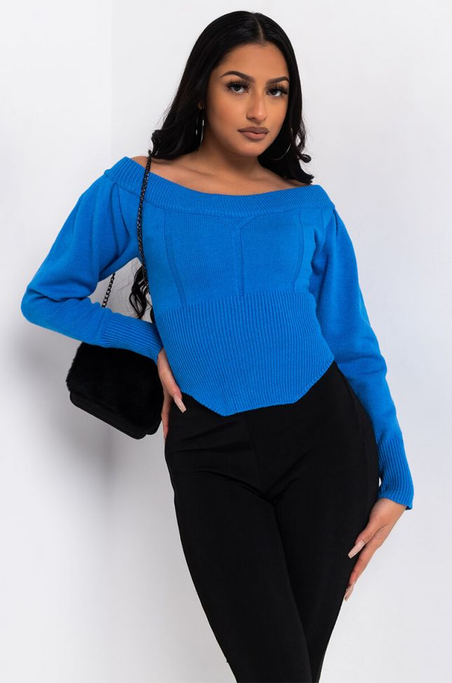 Side View Leaving You Long Sleeve Off The Shoulder Sweater in Blue