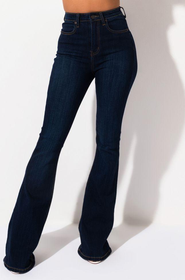 Side View Lena Super High Rise Flare Denim Pants in Medium Blue Denim
