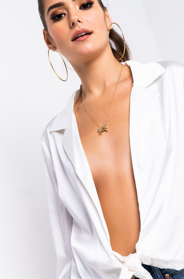 Front View Leo Figure Necklace in Gold