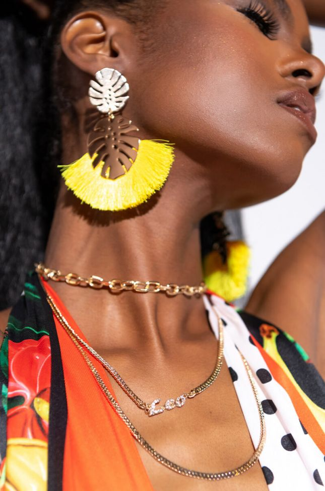 Front View Leo Pave Layered Necklace in Gold