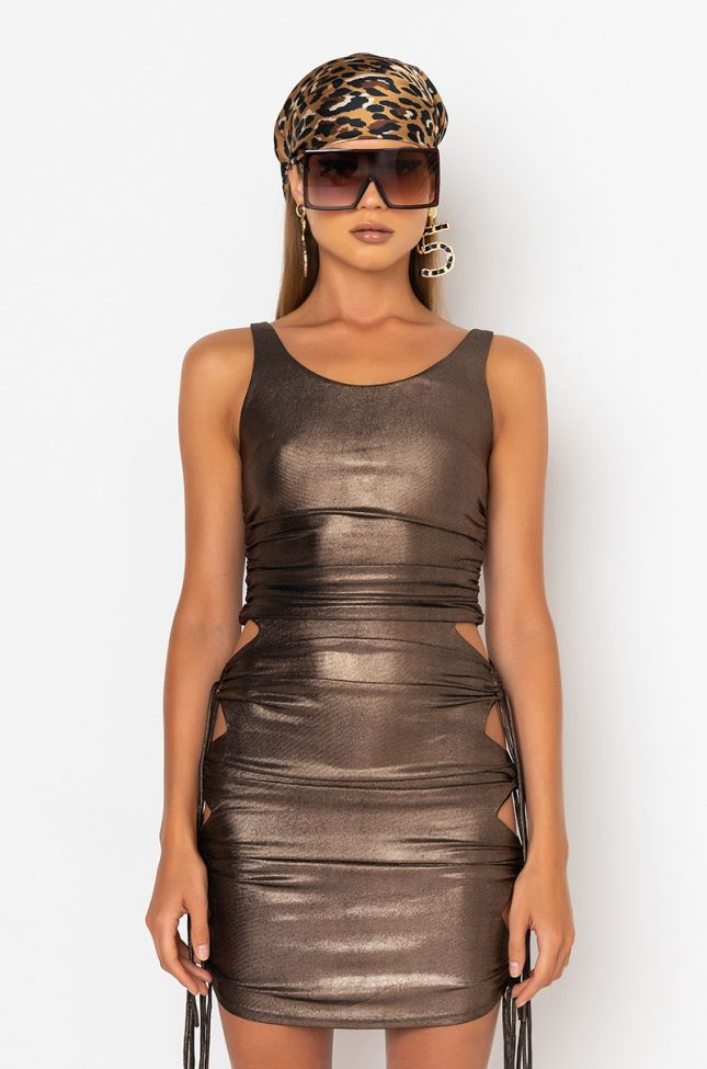Front View Let Her Shine Mini Ruched Dress in Gold
