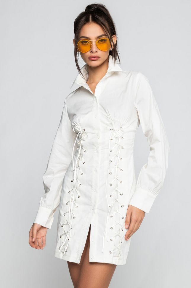 Front View Let It Be Known Mini Dress With Lace Up And Bishop Sleeves in White