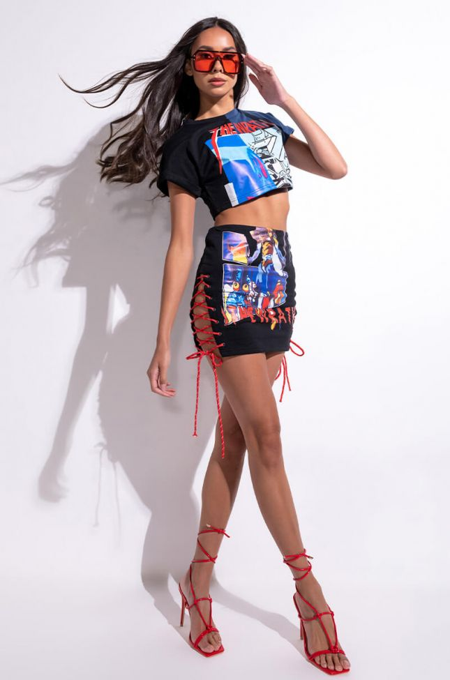 Extra View Let It Rock Lace Up Mini Skirt